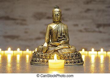 Japan zen garden with Buddha