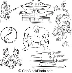 symbols of Japan - JapanBeautiful Set of vector sketches of...