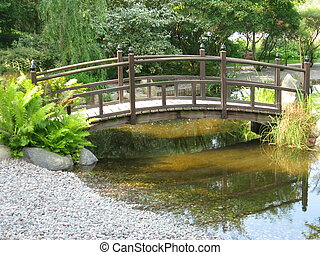 Japaneese garden with small bridge
