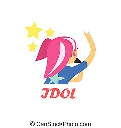 Japaneese Pop Idol Cartoon Style Icon