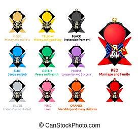 Japanese amulet Sarubobo (faceless baby monkey) with colors...
