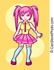 Japanese anime cosplay girl. Cute fashion character in fantasy costume