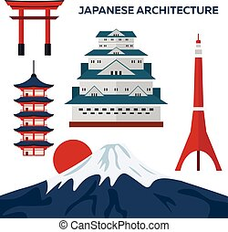 Japanese architecture. Modern flat design. Vector illustration.