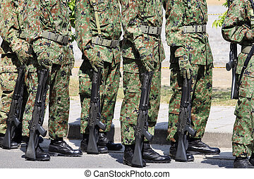armed marching soldiers with rifle - Japanese armed marching...