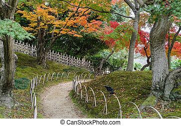 Autumn color of Korakuen garden in Okayama, Japan - Japanese...
