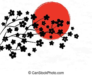 Japanese background with red sun