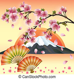 Japanese background with mountain, fans and sakura blossom- Japanese cherry tree