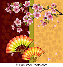 Japanese background with sakura cherry tree and fans