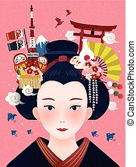 Japanese beautiful geisha
