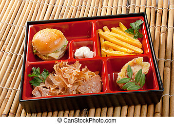 Japanese Bento Lunch .box of fast food with with pork, ...