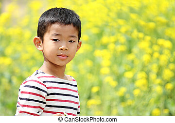 Japanese boy and field mustard