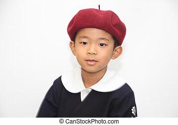 Japanese boy in school uniform (6 years old)