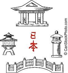 Japanese bridge, temple and stone lanterns