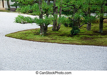 Japanese garden with gravel, moss, and pine trees