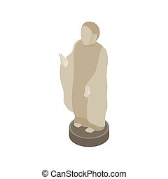 Japanese Buddhist monk icon, isometric 3d style - Japanese...