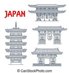 Japanese travel landmark vector icons with Buddhism religion architecture. Asian buddhist temple Senso-ji, wood five story pagoda, Kaminarimon Thunder Gate and Niten-mon gate at Taiyuin mausoleum