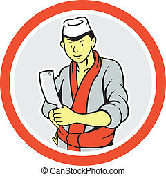 Japanese Butcher Hold Meat Cleaver Circle Cartoon