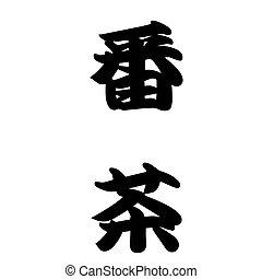 Japanese calligraphy Coarse tea (green tea)