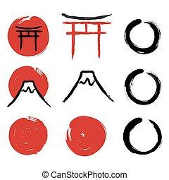 Japanese calligraphy symbols - Set of hand-drawn traditional...