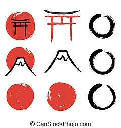 Japanese calligraphy symbols - Set of hand-drawn traditional...