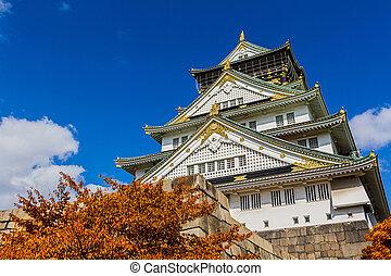 Japanese Castle with autumn leaves. - Osaka Castle in Osaka ...