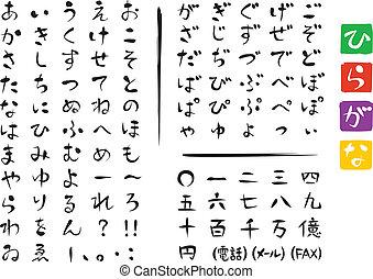 Japanese characters, HIRAGANA, set
