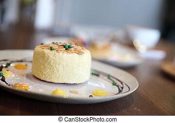 Japanese cheese cake on wood background