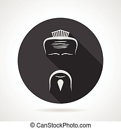 Japanese chef black round vector icon