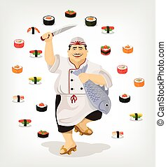 Japanese chef with sushi