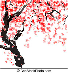Japanese Cherry tree blossom. Watercolor