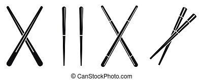 Japanese chopsticks icons set, simple style