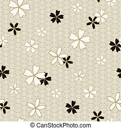 Japanese classic Sakura floral in black and light beige...