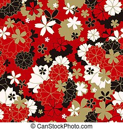Japanese classic Sakura floral in red, white, black and...