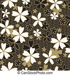 Japanese classic Sakura floral with golden stroke and black...