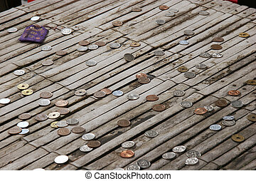 Japanese coins on a bamboo table. Donated from visitors at a temple in Kyoto, Japan.