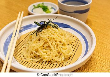 Japanese cold ramen noodles or Zaru ramen.