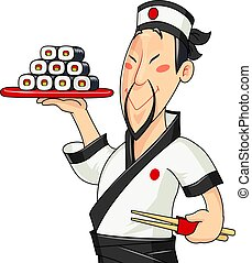 Japanese cook with sushi. Traditional food. Profession