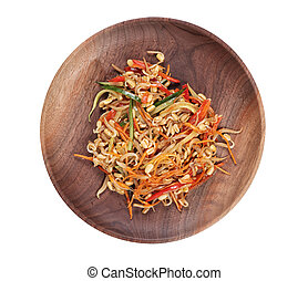 Japanese cooking. Vegetable salad on a plate top view