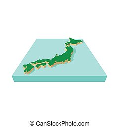 Japanese country map icon, cartoon style