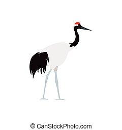 Japanese crane icon, flat style