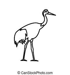 Japanese crane icon, outline style