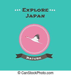 Japanese crane vector illustration