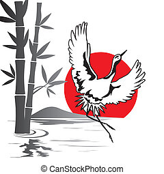 vector image of dancing Japanese crane at sunset
