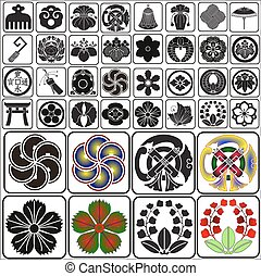 Japanese crests set B4 - Japanese traditional crests