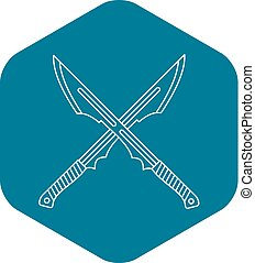 Japanese crossed swords icon, outline style