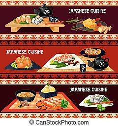 Japanese cuisine banner for restaurant, sushi bar - Japanese...