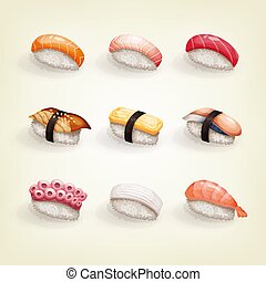 Japanese cuisine collection. Set of various fresh and delicious nigiri sushi. Vector illustration of healthy food for takeout, bar or restaurant menu.