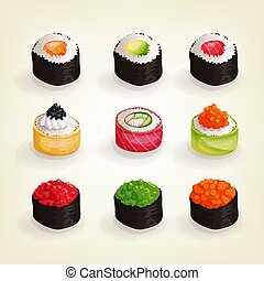 Japanese cuisine collection. Set of various fresh and delicious sushi rolls. Vector illustration of healthy food for takeout, bar or restaurant menu.