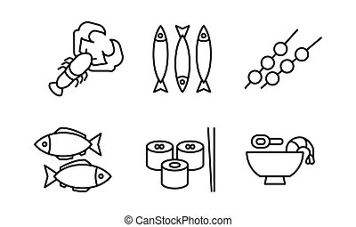 Japanese cuisine dishes set, Asian food black line icons vector Illustration on a white background