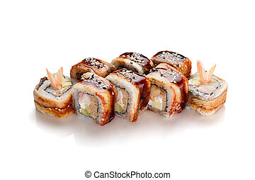 Japanese cuisine. Eel sushi roll isolated on white background.